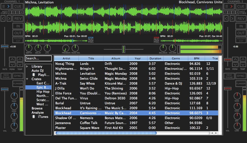 Screenshot of Mixxx 1.8.0
