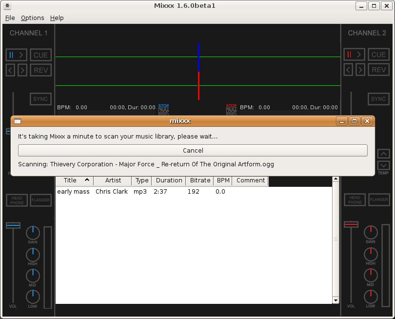 Mixxx 1.6.0beta1 Library Scanner