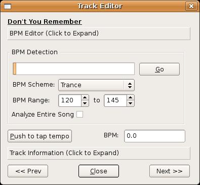 Screenshot of Mixxx Track Editor