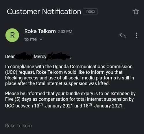 email from Roke Telecom to customer