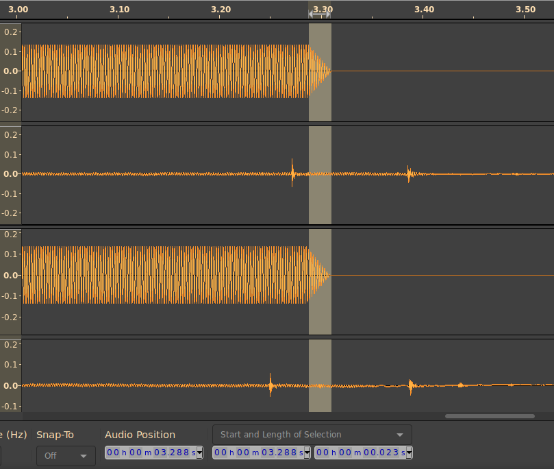 Screenshot of audacity showing the fade out