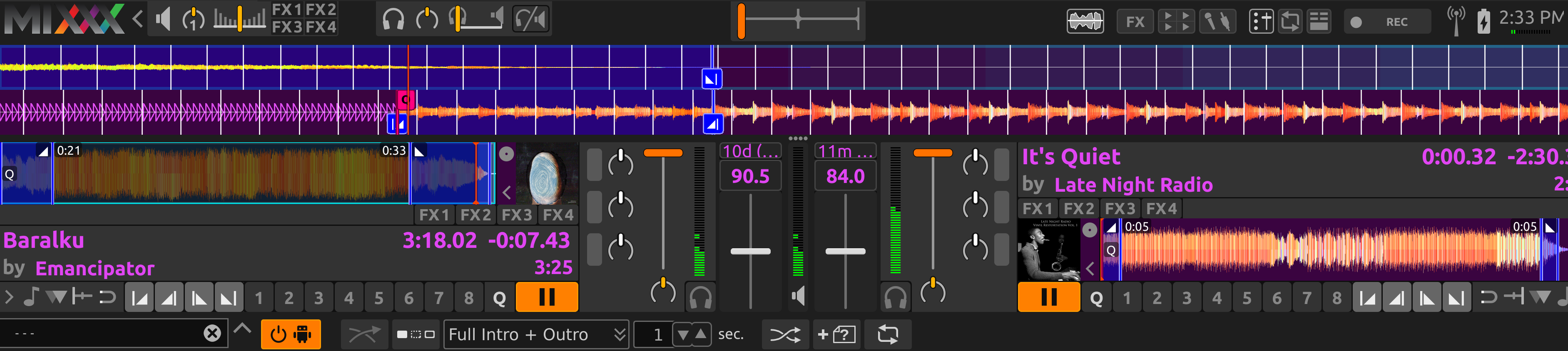 AutoDJ aligning the end of the intro and outro in Full Intro + Outro mode