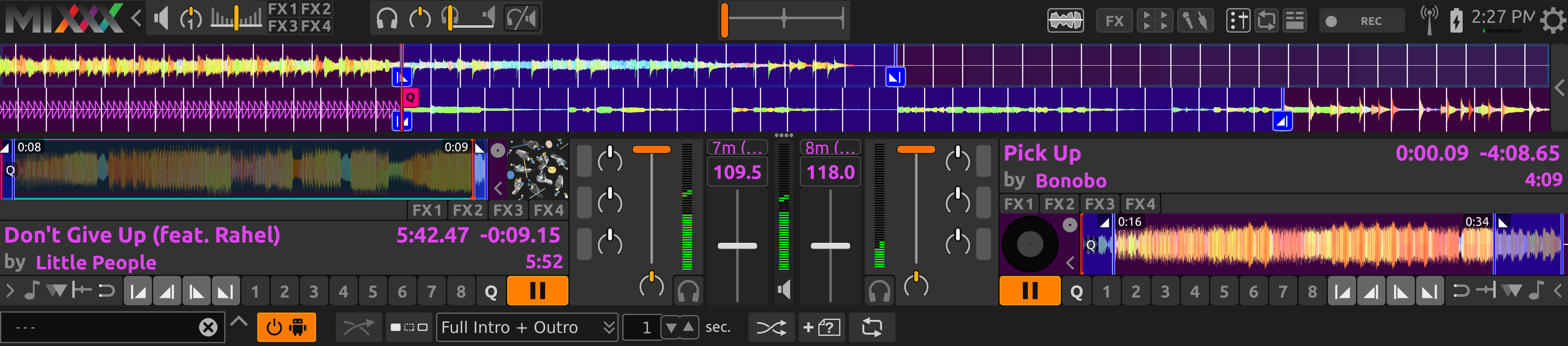 AutoDJ aligning the start of the intro and outro