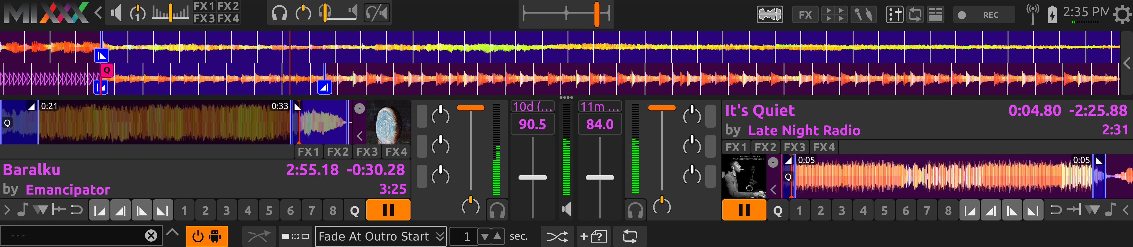AutoDJ aligning the start of the intro and outro in Fade At Outro Start mode