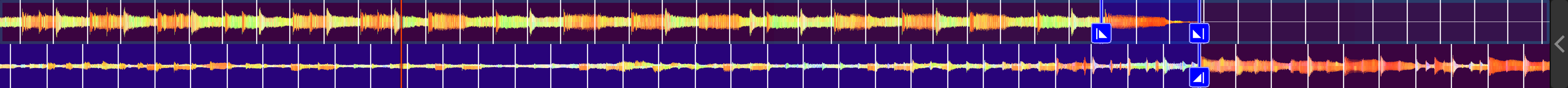 Two tracks' waveforms with the end of the intro and outro aligned