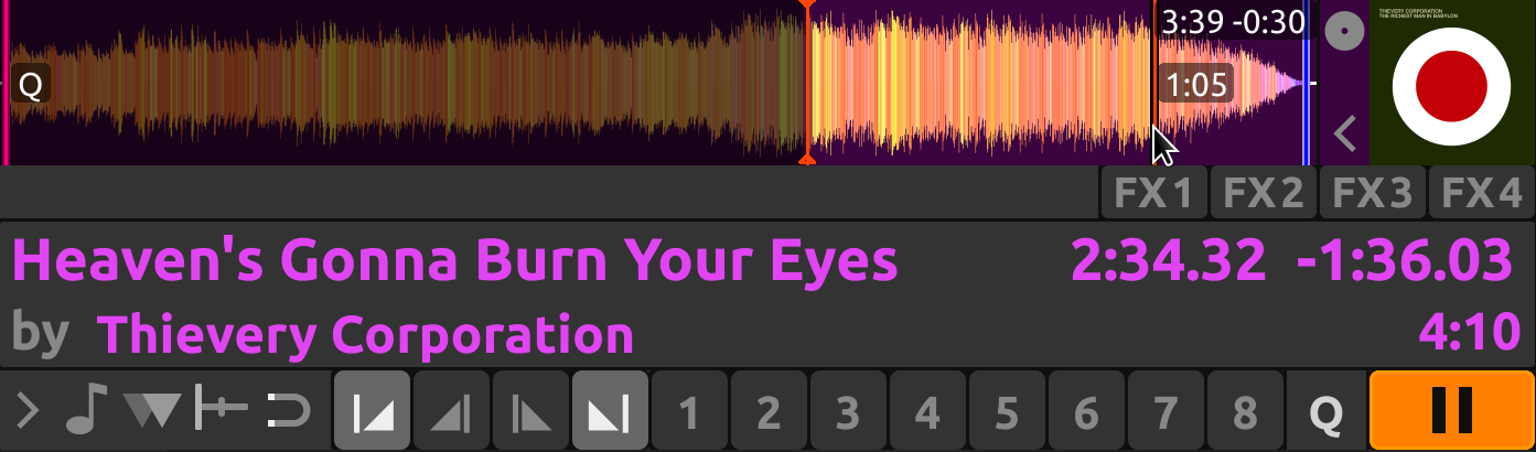 Right clicking on the overview waveform to approximate the length of the outro