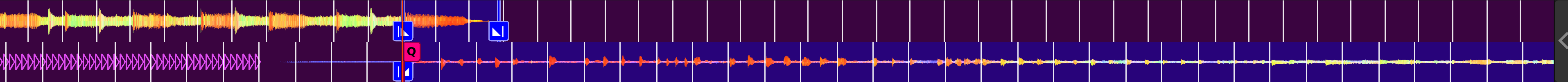 Two tracks' waveforms with the starts of the outro and intro aligned