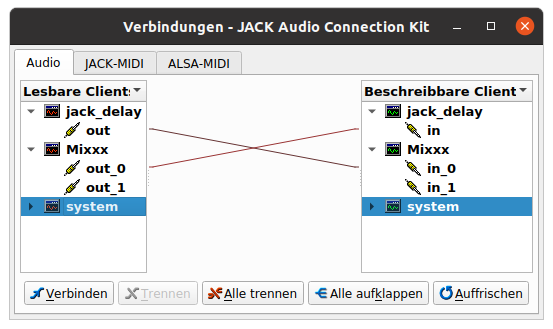 Jack patch field showing the jack_iodelay Mixxx loop