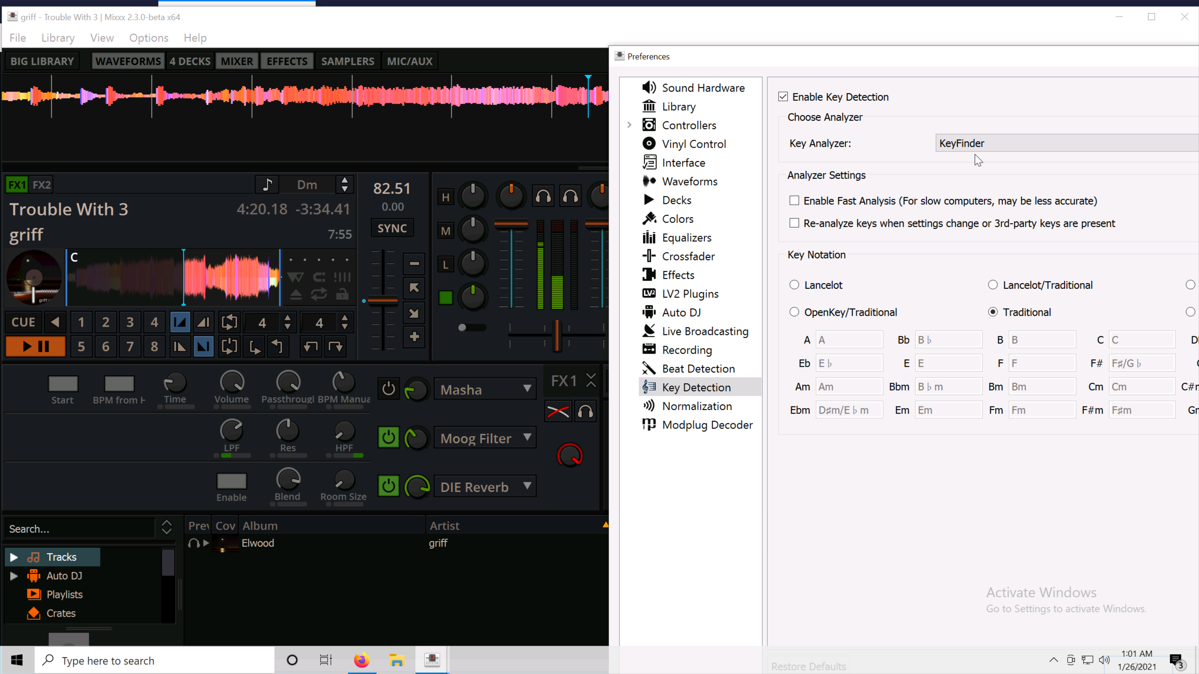 Screenshot showing Mixxx with LV2 plugins, module tracker support, and KeyFinder support