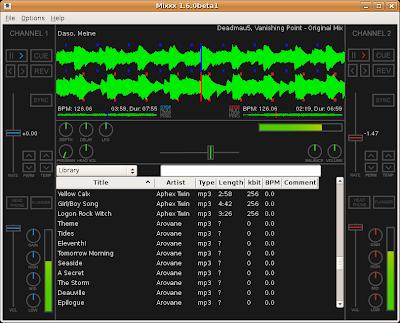 Screenshot of Mixxx 1.6.0beta1