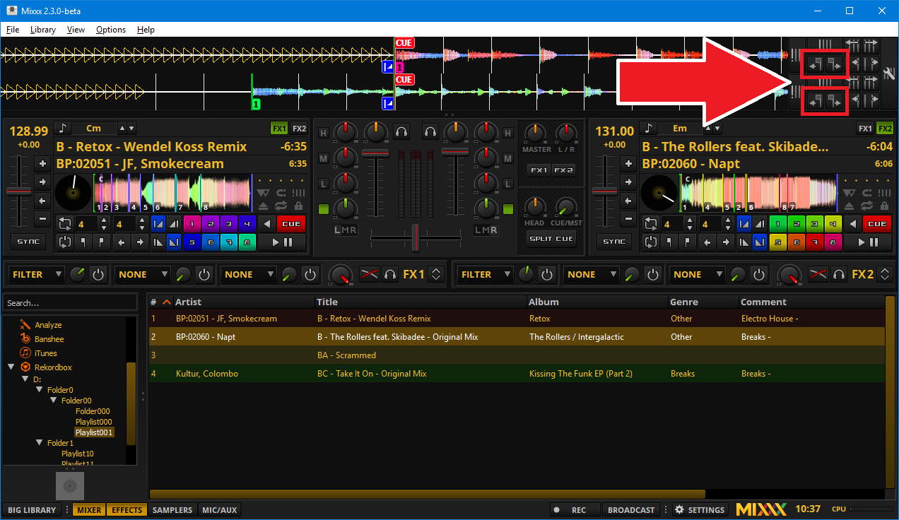 Mixxx showing a Rekordbox USB library and beatgrid adjustment buttons