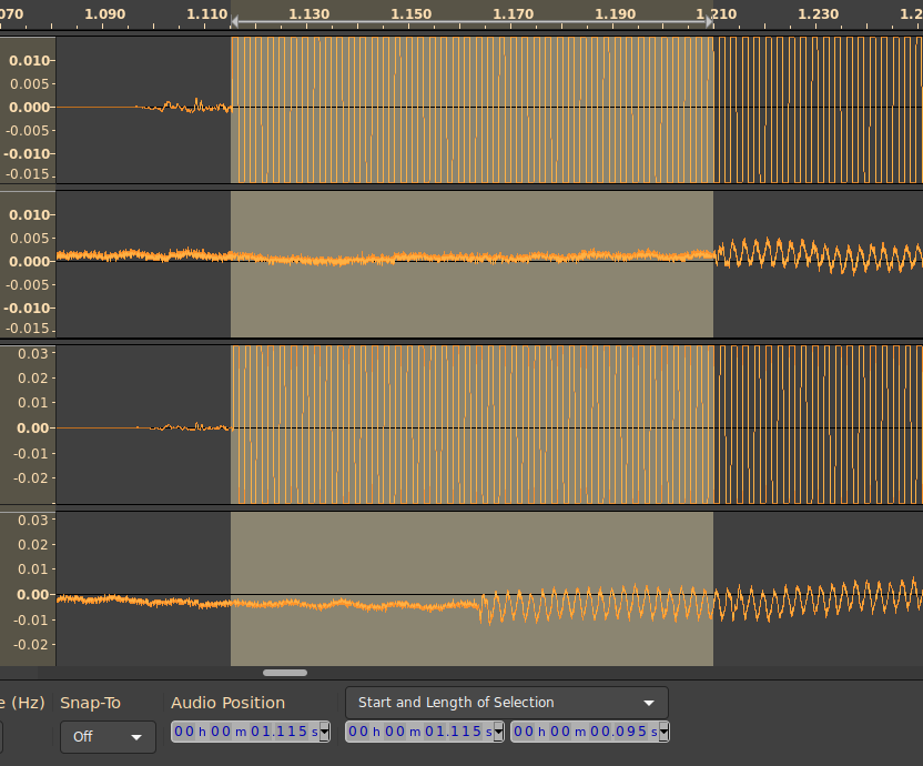 Screenshot of audacity showing the round trip latency